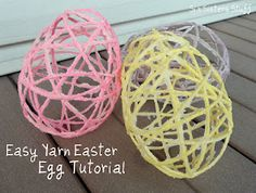 Wow i reember making these for Easter using string not yarn. EASY and CHEAP Yarn Easter Egg Tutorial Spring Crafts, Holiday Crafts, Fun Crafts, Paper Crafts, Daycare Crafts, Spring Art, Holiday Fun, Hoppy Easter, Easter Eggs