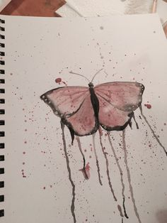 To create this simple painting of a butterfly, I started out by sketching it out in pencil. Once it was sketched out, I went over it in watercolor. By tilting the paper at different angles and dripping lots of watercolor on it, I was able to create a drip effect around the butterfly. Lastly, I splattered paint around it by flicking the brush towards the page.