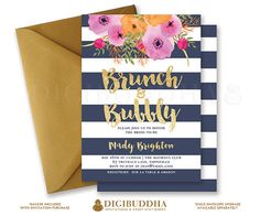 BRUNCH & BUBBLY INVITATION Bridal Shower Invite Navy Stripes Gold Glitter Navy and Gold Flower Free Priority Shipping or DiY Printable- Mady