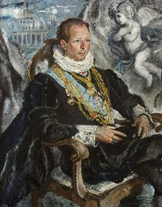 Portrait of Evan Frederick Morgan (1893–1949), 2nd Viscount Tredegar (2nd Creation), 1945 by Cathleen Mann (Scottish 1896-1959)...Mann was the daughter of Scots painter Harrington Mann...