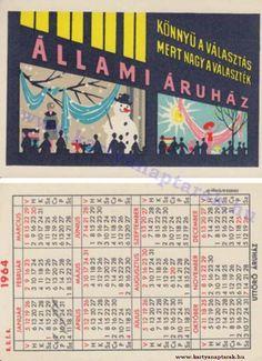 1964 - 1964_0164 - Régi magyar kártyanaptárak Pocket Calendar, Event Ticket, December, Retro, Cards, Pockets, Pocket Diary, Maps, Retro Illustration