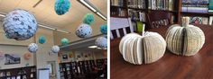 whimsical displays out of discarded books and magazines. A great idea for your library makerspace!