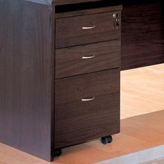 Decarie Contemporary File Cabinet With Casters · Brown WoodDark ...