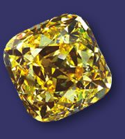 The Allnett Diamond.    101.29 carats  De Beers mine, South Africa  Loaned by SIBA Corp.  Strongly colored diamonds weighing more than 100 carats are extremely rare, making this vivid yellow diamond truly exceptional. The color is the result of nitrogen atoms that replaced some of the crystal's carbon atoms. The gem is named after its former British owner, Major Alfred Ernest Allnatt.(Once on display at the Smithsonian Museum of Natural History)