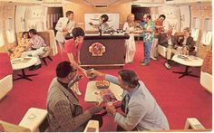 Continental Airlines coach lounge in the 1970s, you know, back when you could say airlines actually cared about customer service … (burn)! Coach lounges were located on the lower deck, usually behind first class seating.