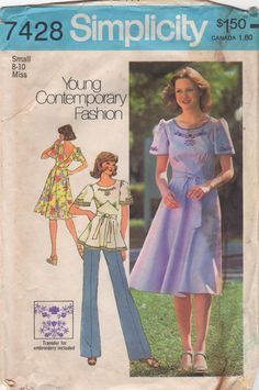 Simplicity 7428 1970s Back Wrap Dress and Top Pattern womens vintage sewing pattern by mbchills