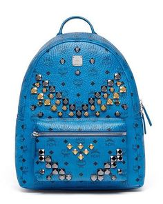 MCM STARK MEN'S STUD MEDIUM BACKPACK, MUNICH BLUE. #mcm #bags #lining #canvas #backpacks #