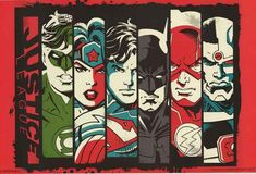 A great retro-looking poster of DC Comics Justice League-ers: Green Lantern, Wonder Woman, Superman, Batman, The Flash, and Cyborg! Fully licensed. Ships fast.