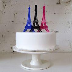 Paris Eiffel Tower Cake Topper    http://www.misscake.co.uk/eiffel-tower-cake-topper