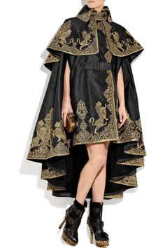 Alexander Mcqueen Embroidered Silk-jacquard Cape in Black | Lyst
