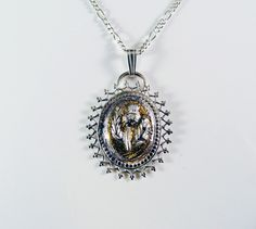 Silver and Gold Scottish Thistle Necklace 575 by JelliesJewelry, $188.00