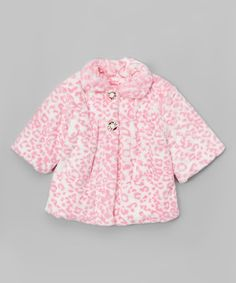 Another great find on #zulily! Pink Leopard Faux Fur Swing Coat - Toddler & Girls #zulilyfinds