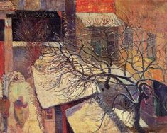Paris in the snow, 1894 by Paul Gauguin, Paris period. Post-Impressionism. cityscape. Van Gogh Museum, Amsterdam, Netherlands