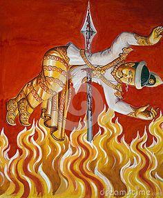 Combustion dans l enfer - peinture birmanne de temple Peintures birmannes de temple chez Laykyun Setkyar près de Monywa dans la Division de Sagaing de Myanmar central (Birmanie). La peinture est au sujet des enseignements moraux - l'homme qui tue un enfant brûlera dans l'enfer pour toute l'éternité.