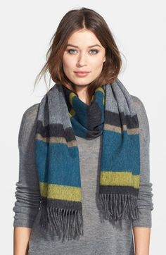 BOSS HUGO BOSS BOSS Stripe Wool Scarf available at #Nordstrom