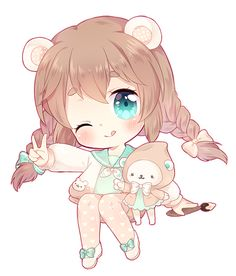 chibi commission for aumbrieones! i'll try to dish out another chibi tomorrow before work if i can ^ 0 ^ done in sai / ps please do not use / repost my art unless . Chibi Manga, Dibujos Anime Chibi, Cute Anime Chibi, Manga Anime, Chibi Eyes, Anime Art, Chibi Kawaii, Kawaii Art, Kawaii Anime Girl