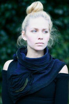 LOVE THIS....   RESERVED Nuno felted scarves  Felted Scarf  Felt by FeuerUndWasser, $125.00: