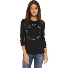 Markus Lupfer Bee Ring Embellished Emma Jumper (515 CAD) ❤ liked on Polyvore featuring tops, sweaters, black, black crew neck sweater, ribbed sweater, crew neck sweaters, black top and black sequin sweater