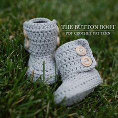 Www.shopathooked.etsy.com | The Button Boot Crochet Pattern, Crochet Boot Pattern, Booties Pattern, Baby Boots Pattern, Gender Neutral Boots