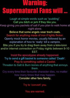 SPN fan warning - (except now, Fridays will be changed to Wednesdays)  #supernatural