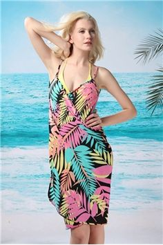 718928ddc3b67 Polyester Hawaii Leaves Pattern Cross Front Beach Wrap Skirt Cover Up Beach Swimsuit  Dress