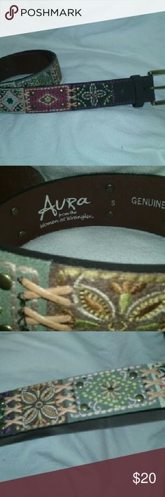 "AURA Belt (From the women of Wrangler) Leather 33"" Very good, clean condition. Genuine leather, lovely embroidering.  Aura, from the women of Wrangler. Such a unique find! Measures approx 33"" length, 1.5"" width. Aura Accessories Belts"