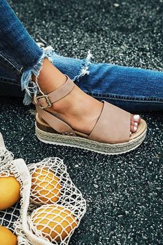 The Brighton Espadrille in Taupe is part of Minimalist fashion Summer Outfits - These espadrilles run more true to size Heel Height 2 inches Birch espadrille sandals Espadrilles Outfit, Espadrille Sandals, Women's Sandals, White Espadrilles, Cute Shoes, Me Too Shoes, Women's Shoes, Shoe Boots, Wedges