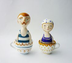 English bather in a teacup - Paper clay figurine - Lord James. £60.00, via Etsy.