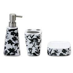Acessórios para banheiro kit pia floral preto e branco
