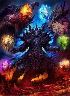 The Emperor of Dragons and Warlords - Arthur Gethist Fantasy Demon, Fantasy Beasts, Demon Art, Fantasy Monster, Fantasy Warrior, Monster Art, Dark Fantasy Art, Fantasy Artwork, Dragon Artwork