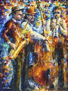 Jazz it up - palette knife oil painting on canvas by leonid afremov - size: Music Painting, Art Music, Oil Painting On Canvas, Canvas Artwork, Painting Art, Popular Paintings, Tempera, Leonid Afremov Paintings, Palette Knife