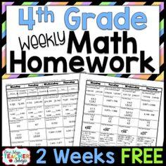 Fourth Grade Math Homework FREE