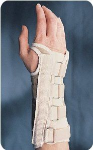 "Classic Wrist Brace - Long by B&C. $32.97. Classic Wrist Brace - LongAllows full dexterity of the fingers and thumb, yet limits wrist flexionLonger length for greater wrist control and increased immobilization Cotton/polyester fabric blend for additional patient comfortDouble layer of cotton stockinette holds the brace in position for easy applicationbr Loop and lock closure for easy adjustmentLength tapers from 9 1/8"""" to 8 1/4"""" Latex FreeReorder No. Reorder No. Wrist Cir..."