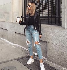 Spring Outfits For Teen Girls, Winter Fashion Outfits, Black And White Outfits For Teens, Spring School Outfits, Autumn Outfits Women, Fasion, Outfits For Women, Lazy Summer Outfits, Mom Jeans Outfit Summer
