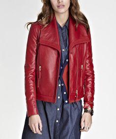 Lipstick Red Leather Agyness Jacket by Baukjen #zulily :  $299.99/  $609.00
