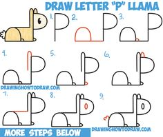 """How to Draw Cute Cartoon Kawaii Llama from """"P"""" Letters Easy Step by Step Drawing Tutorial for Kids"""