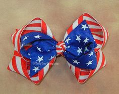 Large Patriotic Hair Bow in Stripes and Royal by RoseyBearBoutique, $6.50