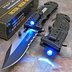 This tactical knife includes an LED light to light up directly in front of the knife so that you can have a clear view at night as well as day time. This knife