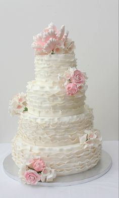 Ruffle Wedding Cake by For Cake's NZ
