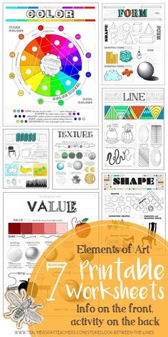 Elements of Art Worksheets: Visual Art Mini Lesson for MS and HS This elements of art worksheet pack has seven back and front handouts. Each printable sheet has visual examples and information on the front and activities on the back. Elements Of Art Texture, Elements Of Art Space, Formal Elements Of Art, Elements Of Design, Elements Of Art Examples, Art Lessons For Kids, Art Lessons Elementary, Art History Lessons, Arte Elemental