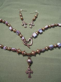 Amethyst Necklace Pearl Necklace Copper Cross by AllMyLoveofCrafts, $12.00
