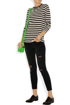 Proenza Schouler top, Bottega Veneta bracelets and rings, Current/Elliott jeans, Church's shoes, Karl Lagerfeld bag.