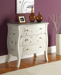 #Home #Decor: #Furniture and Decorators: Acme Issa Bombay Chest, White - Chests Of Drawers with Gold Leaf Print: Furnishings