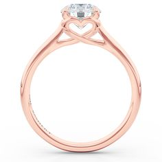 """Signature """"Hearts"""" Setting Solitaire. Round Diamond #SolitaireEngagementRing custom crafted in Rose Gold. Free shipping to USA. Boca Raton, FL. Bashert Jewelry heartsengagementring hearts engagement RoseGoldEngagementRing BocaRaton Florida"""