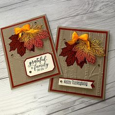 How I mixed Paper Pumpkin August, the Add-On kit and Gather Together to create a Fall Masterpiece! Stampin' Up! Gather Together Stamp Set with Paper Pumpkin Pumpkin Cards, Paper Pumpkin, Neli Quilling, Holiday Cards, Christmas Cards, Handmade Thanksgiving Cards, Thanksgiving Ideas, Tarjetas Stampin Up, Leaf Cards