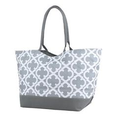 Large Gray Quatrefoil Shopping Tote by DoubleBEmbroidery on Etsy