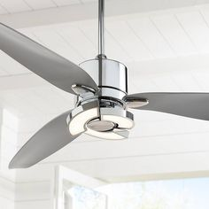 Enjoy exclusive for 56 Vengeance Modern Ceiling Fan Light LED Remote Control Chrome Curved Blades Living Room Kitchen Bedroom - Possini Euro Design online - Bestsellersoutfits Ceiling Fan Chandelier, Led Ceiling, Silver Ceiling Fan, Ceiling Decor, Chandeliers, Decorative Ceiling Fans, Ceiling Fan Makeover, 3 Blade Ceiling Fan, Best Ceiling Fans