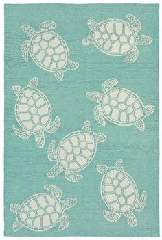 Shop the Turtle Rug - Color: Aqua; Size: x by Trans Ocean by Liora Manne. Made from Polyester, Acrylic in China. This Hand Tufted Aqua rug has a pile_height, perfect for a soft yet durable addition to your home. Aqua Rug, Aqua Area Rug, Blue Rugs, Coastal Cottage, Coastal Decor, Coastal Style, Coastal Lighting, Coastal Farmhouse, Cottage Rugs