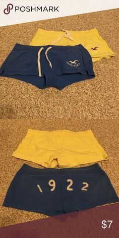 2 pairs of Hollister athletic shorts, size small 1 pair of size small, yellow Hollister athletic shorts. 1 pair of size small, blue Hollister athletic shorts. Both gently used and sold together. Hollister Shorts