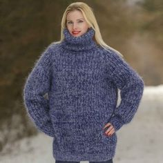 Hand knit ribbed mohair sweater in bluish gray melange